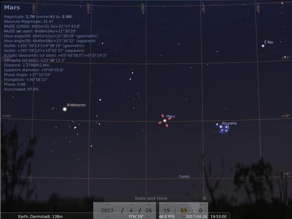 Aldebaran, Mars und M45 am 26.4.2017, hier simuliert für Darmstadt um 19:53 UTC (21:53 MESZ)