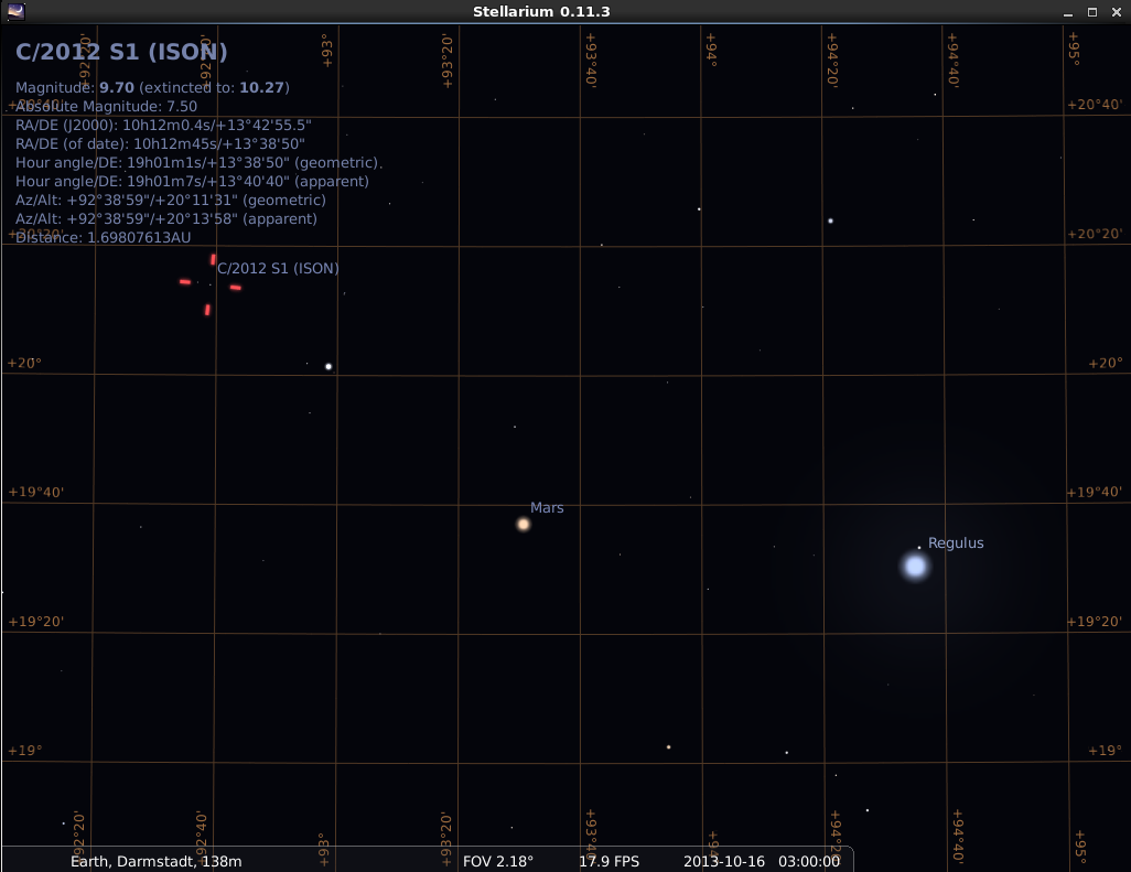 Comet ISON, planet Mars and Regulus (alpha Leonis) on the morning of 16 Oct. 2013, 03:00 GMT (05:00 CEDT) simulation: Michael Khan via Stellarium