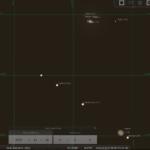 Extrem enge Konjunktion zwischen Jupiter und Saturn am Abend des 20.12.2020, hier simuliert für Darmstadt um 17:00 MEZ