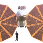 Skizze der Raumsonde Lucy mit ausgefahrenen Solargeneratoren, Quelle: Lucy-Press Kit von NASA/JPL
