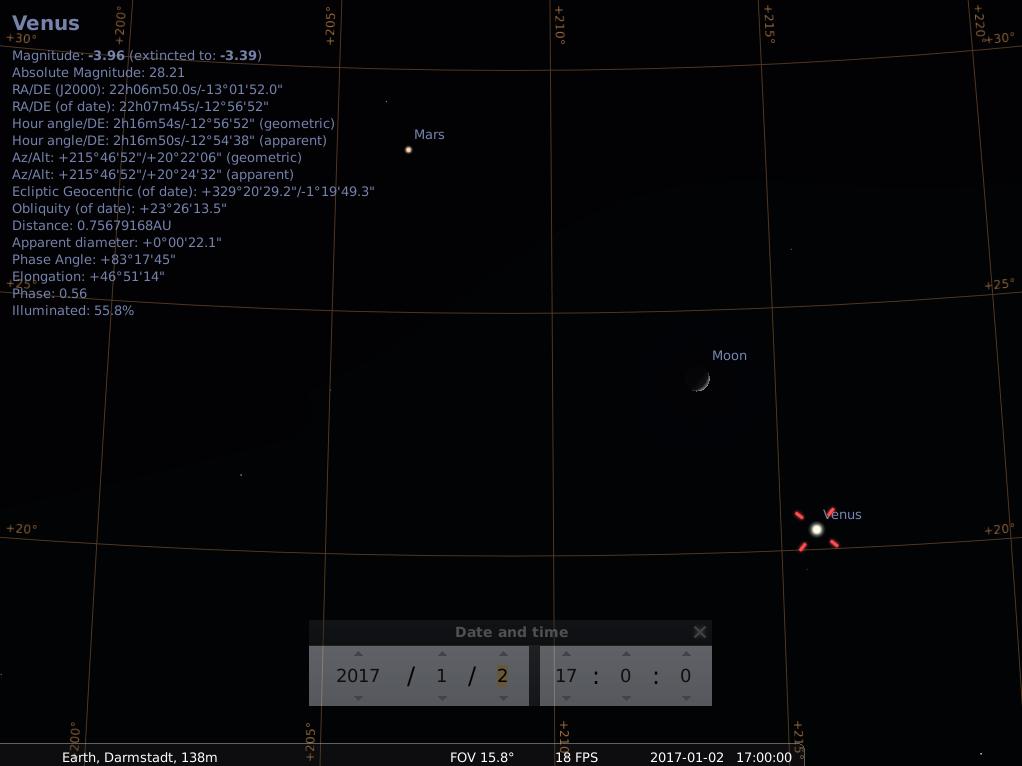 Konjunktion aus Mars, zunehmender Mondsichel und sehr heller Venus am Abend des 2.1.2017, simuliert für Darmstadt um 17:00 UTC (=18:00 MEZ)