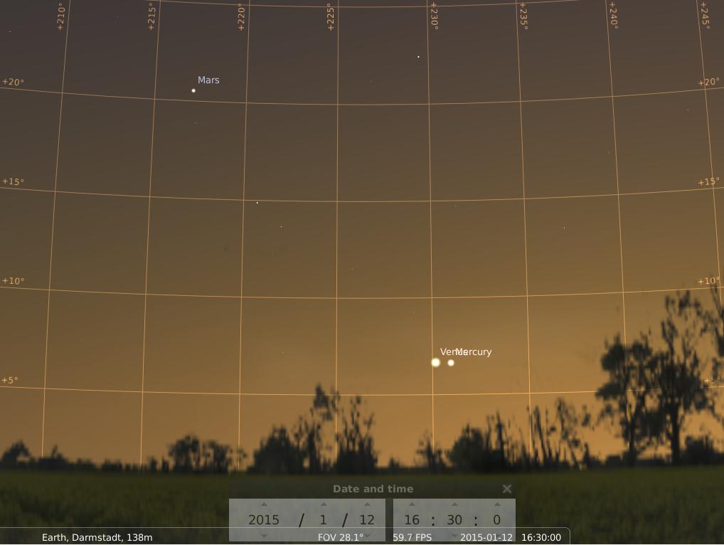 Mars Venus und Merkur am 12.1.2015, simuliert für Darmstadt um 16:30 UTC (17:30 GMT)