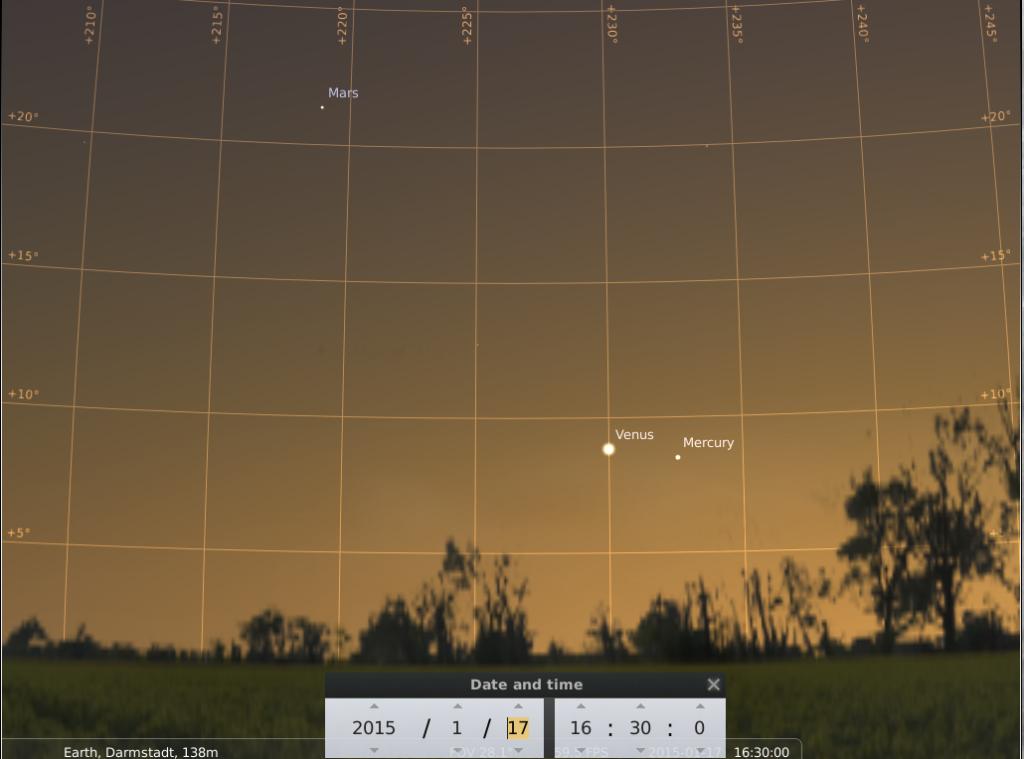 Mars Venus und Merkur am 17.1.2015, simuliert für Darmstadt um 16:30 UTC (17:30 GMT)