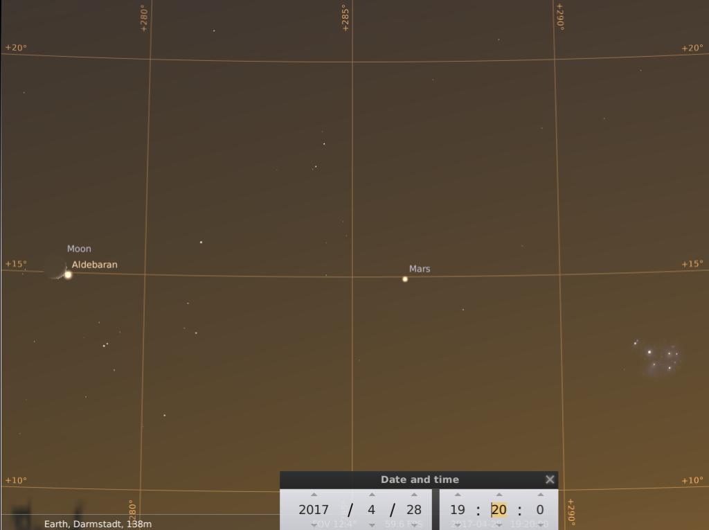 Der Mond kurz nach der Aldebaranbedeckung, Mars und M45 am 28.4.2017, hier simuliert für Darmstadt um 19:20 UTC (21:20 MESZ)