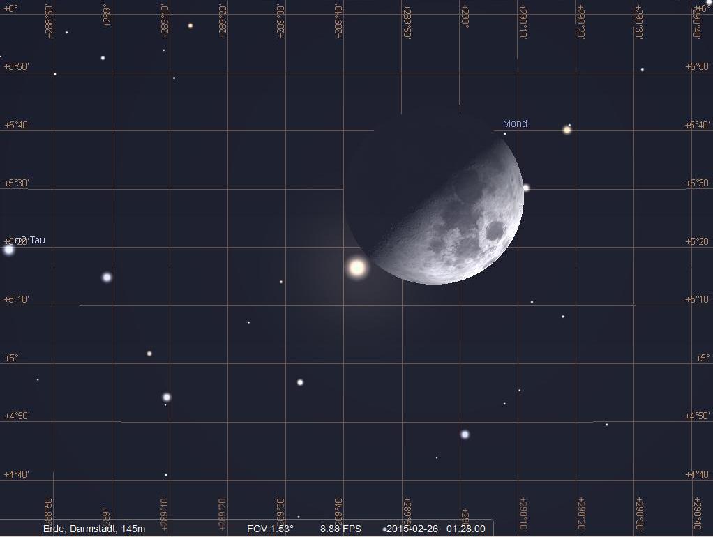 Enge Begegnung von Mond und Aldebaran am 28.2.2015 gegen halb zwei Uhr früh, hier simuliert für Darmstadt