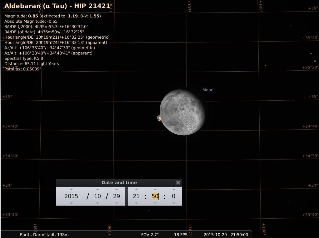 Bedeckung von Aldebaran durch den abnehmenden Mond am 29.10.2015, simuliert für Darmstadt um 21:50 GMT (=22:50 MEZ, Beginn der Bedeckung). Der Austritt erfolgt etwas mehr als eine Stunde später.