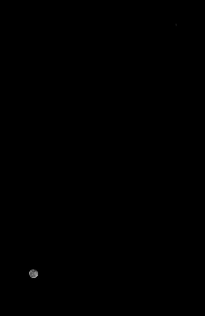 Mond und Jupiter am 5.2.2015, 22:52, Kompositaufnahme, Canon EOS 600D, Leica Elmarit 24, f/2.8, ISO 200, 1/50 und 1/640 Sekunde