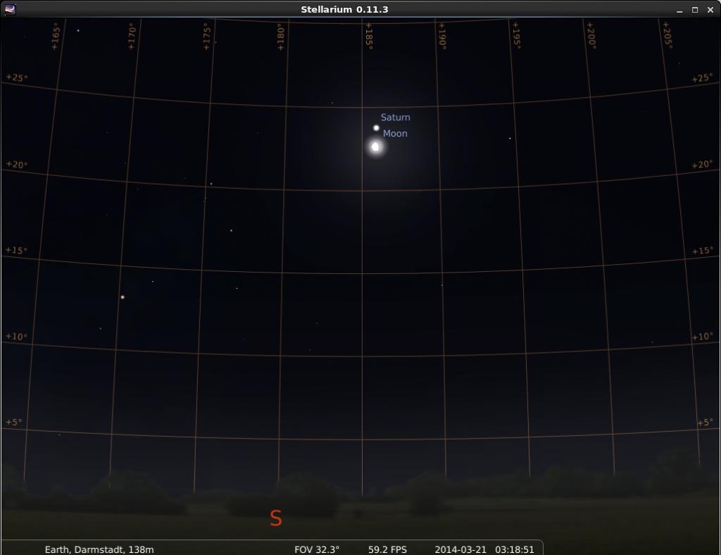 Simulation der Mond-Saturn-Konjunktion am 21.3.2014. hier für den Standort Darmstadt und die Uhrzeit 3:18 UTC (4:18 MEZ)