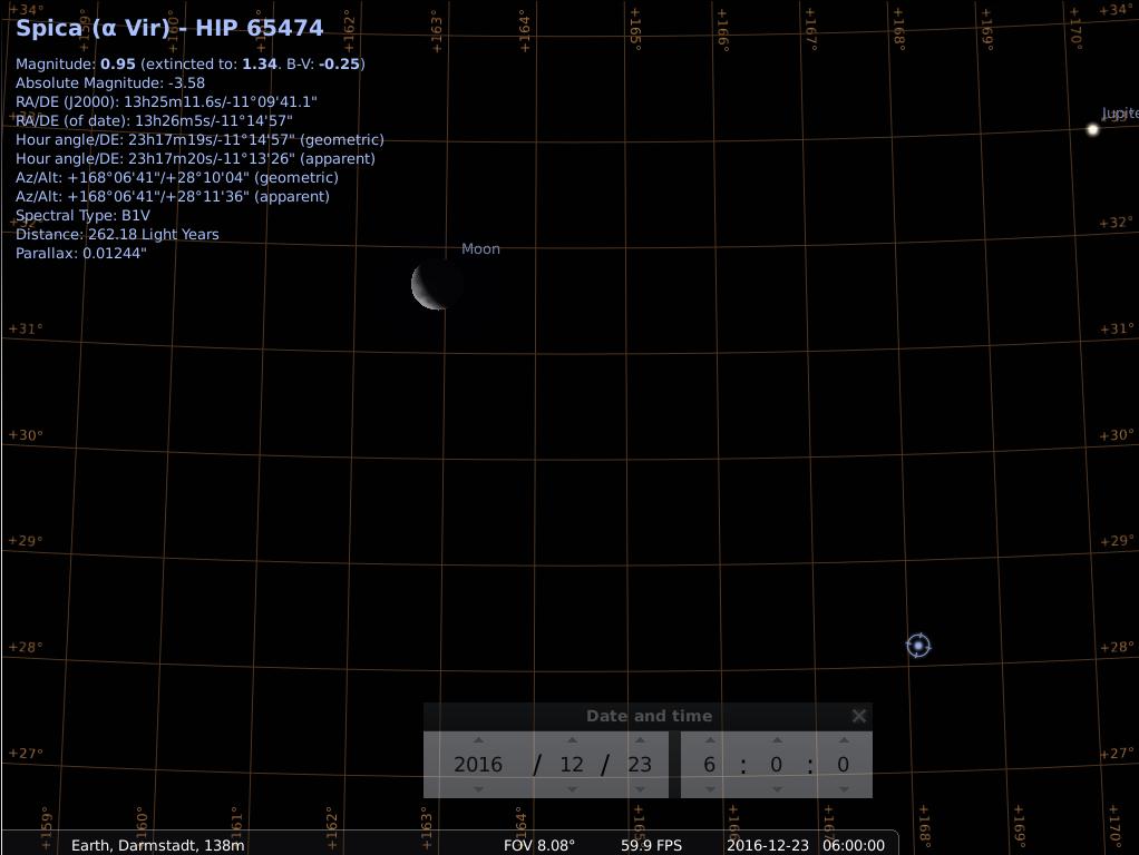Konjunktion aus abnehmendem Mond, Spica und Jupiter am Morgen des 23.12.2016, simuliert für Darmstadt um 06:00 UTC (=07:00 MEZ)
