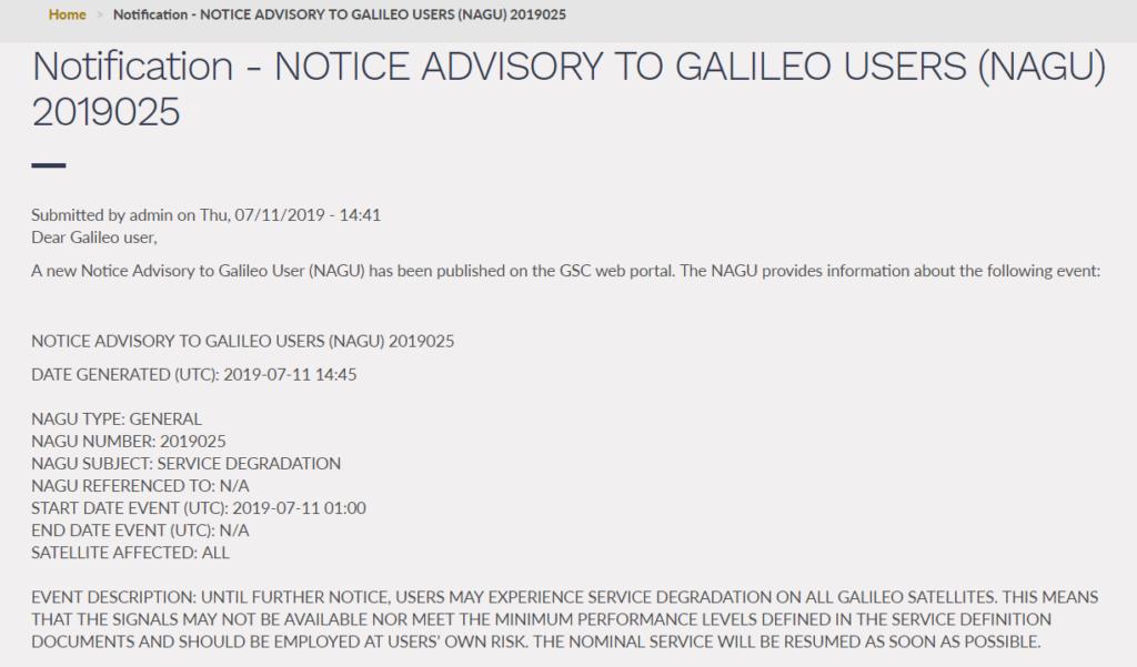 Screenshot der NAGU 2019025 vom 11.7.2019, Quelle: GSA