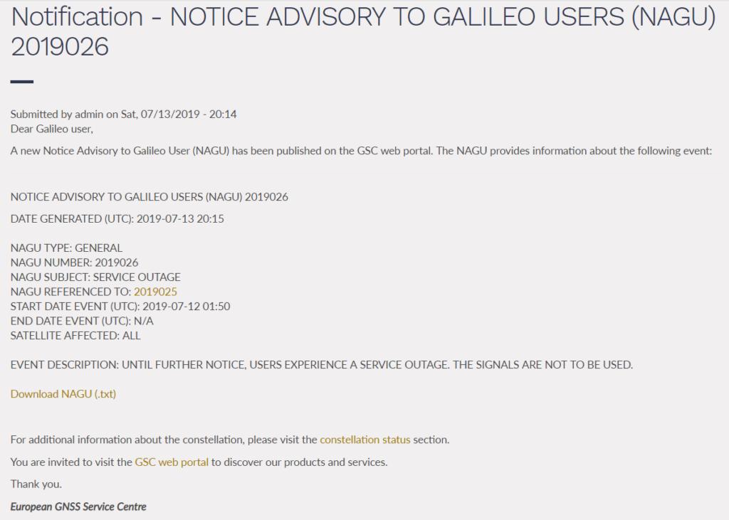 Screenshot der NAGU 2019025 vom 13.7.2019, Quelle: GSA