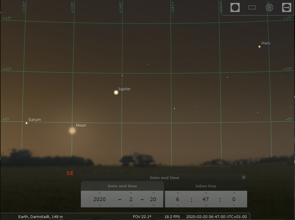 Drei Planeten und die Mondsichel im Februar und März » Go for Launch » SciLogs - Wissenschaftsblogs