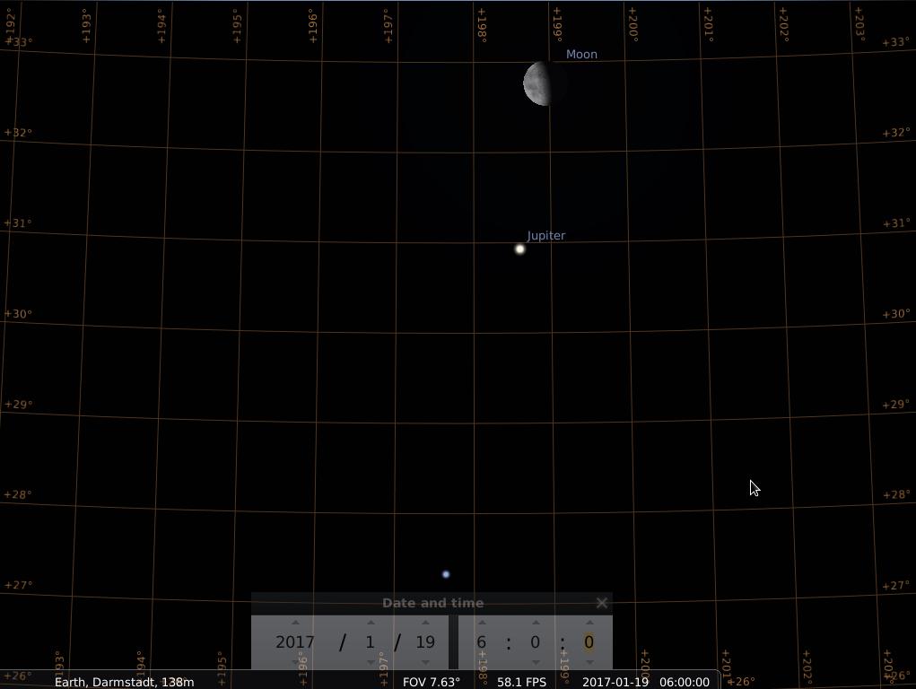 Der abnehmende Halbmond, Jupiter und Spica am Morgen des 19.1.2017, hier simuliert für Darmstadt um 06:00 UTC (=07:00 MEZ)