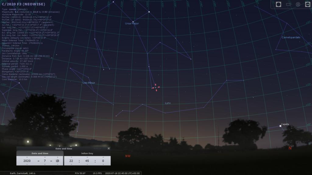 Komet C/2020 F3 (Neowise) am 18.7.2020, hier simuliert für Darmstadt um 22:45 MEZ