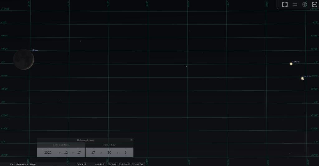 Die zunehmende Mondsichel drei Tage nach Neumond, Saturn und Jupiter in enger Konjunktion am Abend des 17.12.2020, hier simuliert für Darmstadt um 17:50 MEZ