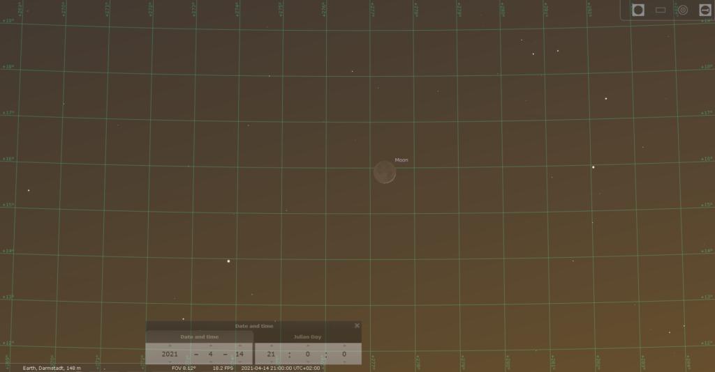 Der zunehmende Mond am Abend des 14.4.2021, hier simuliert für Darmstadt um 21:00 MESZ