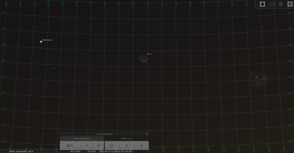 Der zunehmende Mond am Abend des 15.4.2021, hier simuliert für Darmstadt um 21:00 MESZ