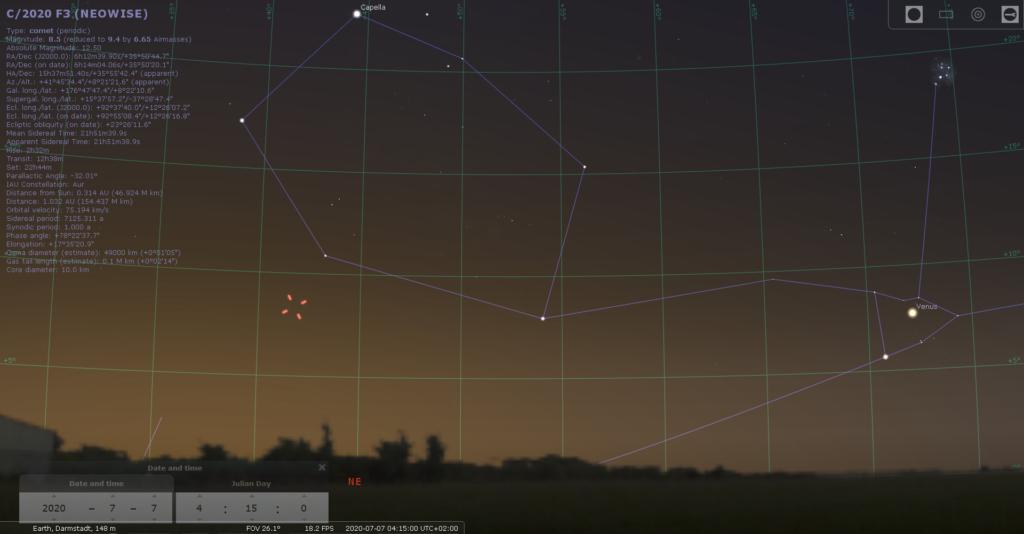Komet C/2020 F3 (Neowise) am 7.7.2020, hier simuliert für Darmstadt um 04:15 MEZ