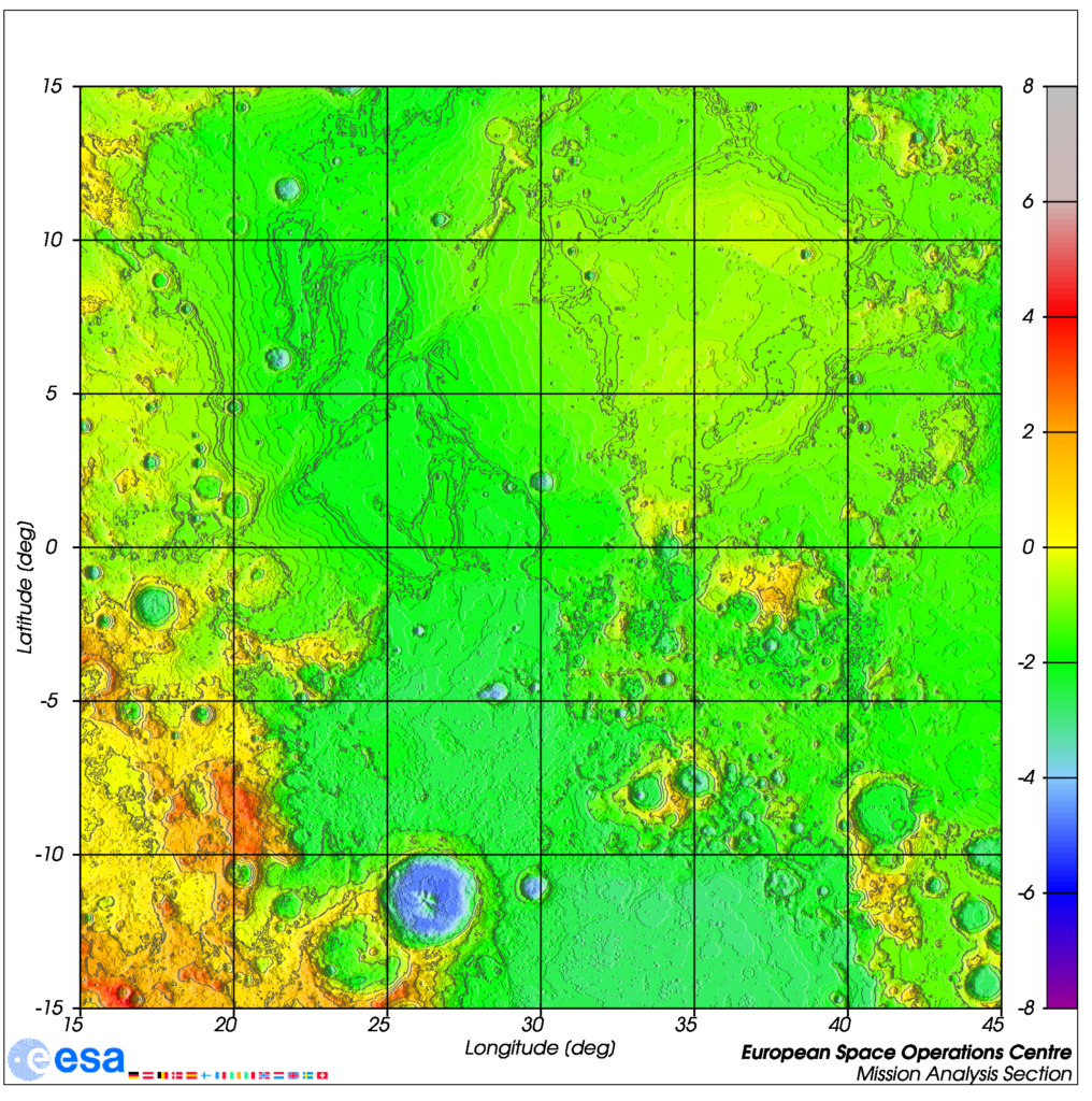 Topographic map of the lunar surface between longitudes 15 and 45 deg E and latitudes 15 deg N and S, showing colour coded surface elevation with respect to the reference radius.