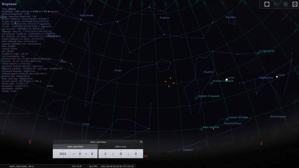 Uranus, Neptun, Jupiter und Saturn in der Neumondnacht vom 7. auf den 8. August, hier simuliert für Darmstadt um 02:00 MESZ, Quelle: Michael Khan via Stellarium