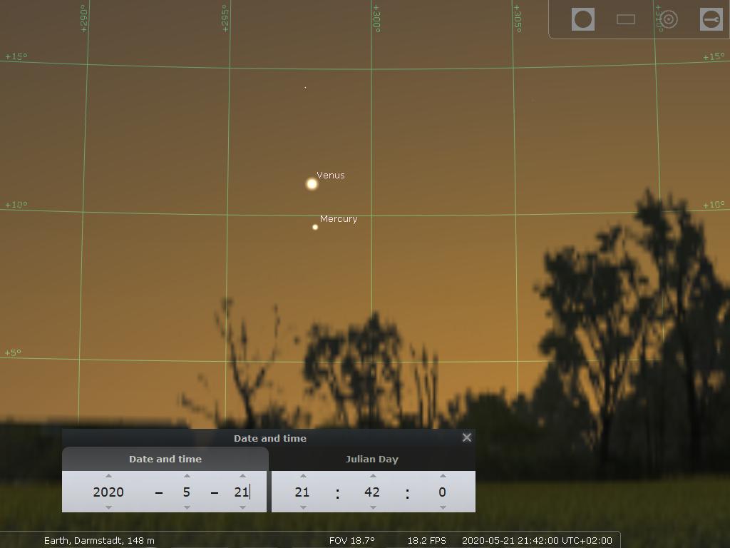 Venus und Merkur in der Abenddämmerung des 21.5.2020, hier simuliert für Darmstadt um 21:42 MESZ