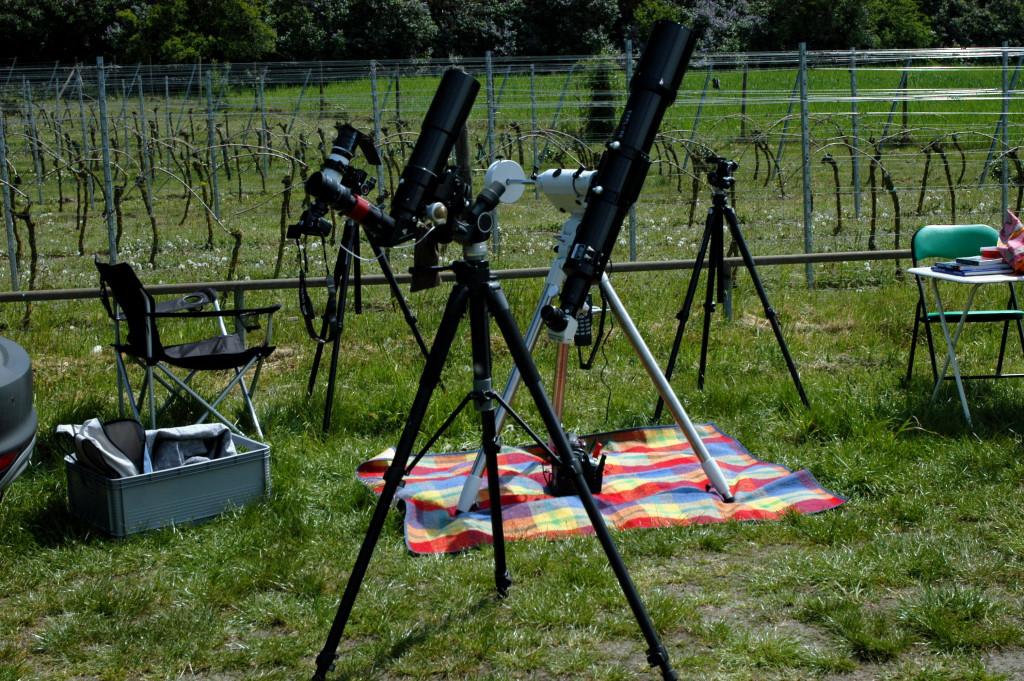 Minimalausgestatteter Arbeitsplatz für die Sonnen- oder Transitbeobachtung unter Öffentlichkeitsbeteiligung.