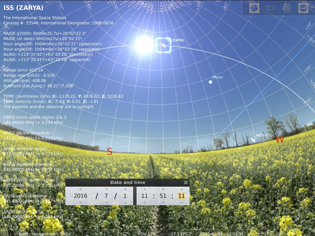 Die ISS am Taghimmel des 1.7.2016 kurz vor dem Sonnentransit, simuliert für Heppenheim um 11:51:11 UTC (13:51:11 MESZ)