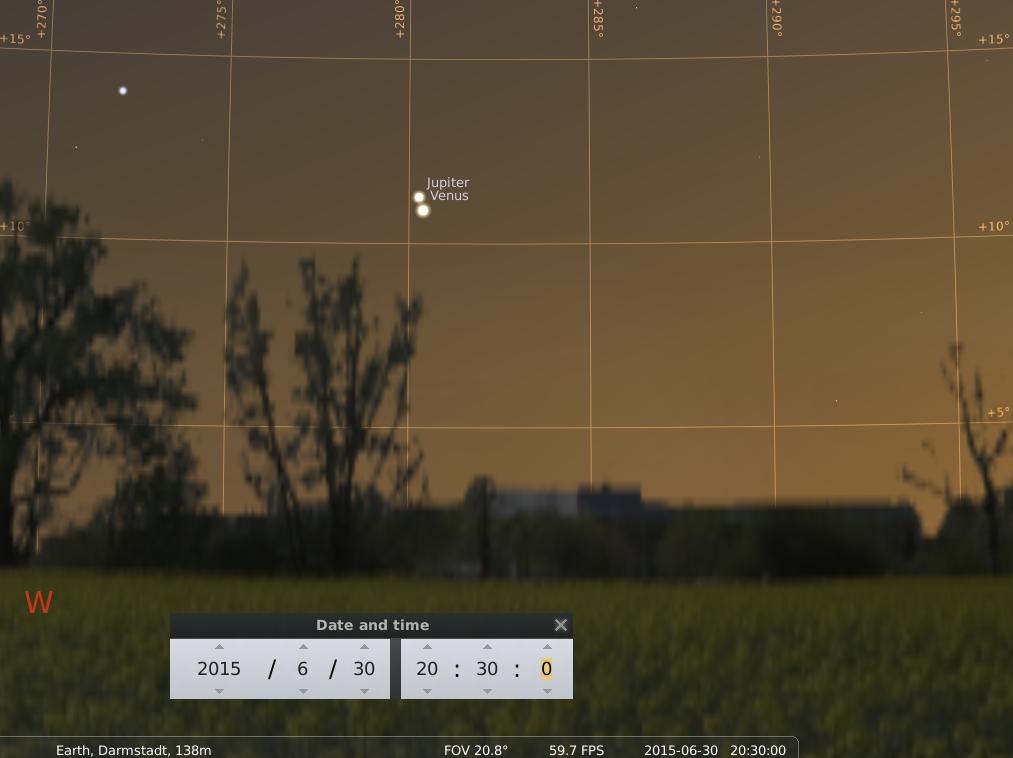 Der Jupiter und die Venus am 30. Juni 2015, simuliert für Darmstadt um 20:30 GMT (=22:30 MESZ)
