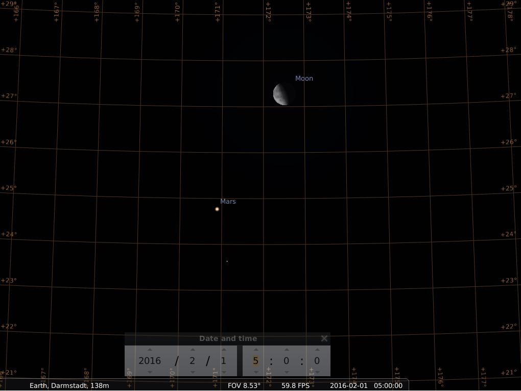 Konjunktion zwischen Mars und Mond am Morgen des 1. Februar 2016, hier simuliert für Darmstadt um 5:00 GMT (6:00 MEZ)