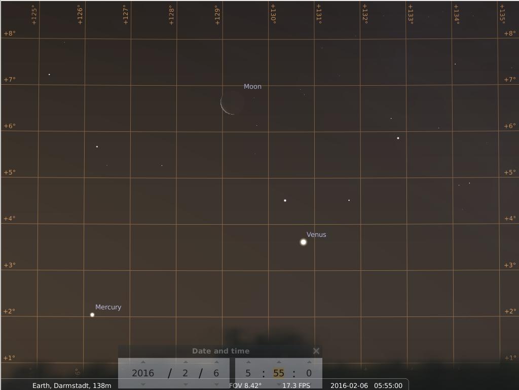 Konjunktion zwischen Merkur, Mond und Venus am frühen Morgen des 6. Februar 2016, hier simuliert für Darmstadt um 5:55 GMT (6:55 MEZ)