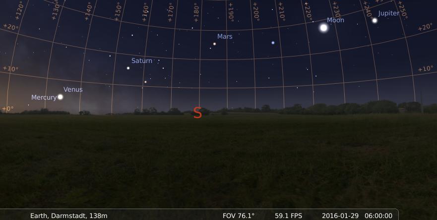 Fünf Planeten und der Mond am Morgen des 29.1.2016, hier simuliert für Darmstadt um 06:00 GMT (07:00 MEZ)