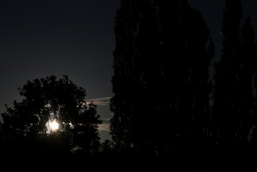 Der aufgehende Mond und Saturn im Skorpion am 7. Mai 2015 um 00:05 MESZ, Canon EOS 600D, Leica Summicron-R 90, f/4, ISO 10000, 1 Sekunde