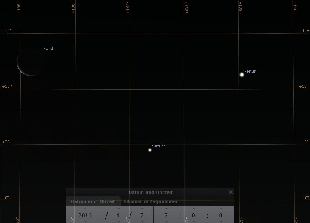 Dreieckskonjunktion aus Mond, Saturn und Venus am Morgen des 7.1.2016, hier simuliert für Darmstadt um 7:00 MEZ