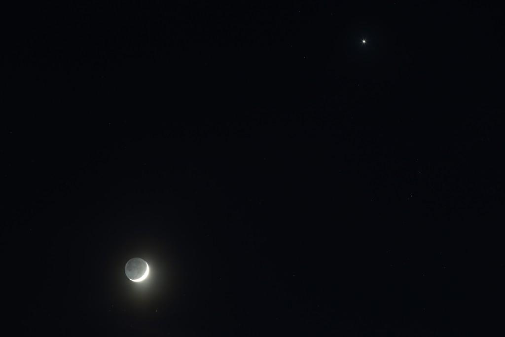 Der Mond in den Hyaden nahe Aldebaran und die Venus am 21. April 2015 um 21:44 MESZ, Canon EOS6D, Leica Elmarit 180, f/5.6, ISO 1250, 1 Sekunde