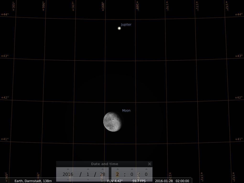 Konjunktion zwischen Mond und Jupiter am frühen Morgen des 28. Januar 2016, hier simuliert für Darmstadt um 2:00 GMT (3:00 MEZ)