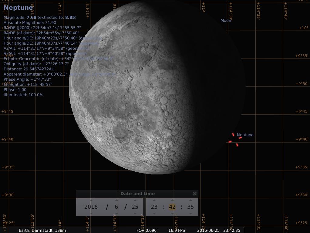 Neptun kurz nach dem Austritt aus der Bedeckung durch den abnehmenden Mond in der Nacht vom 25. auf den 26. Juni 2016 (Simulation)