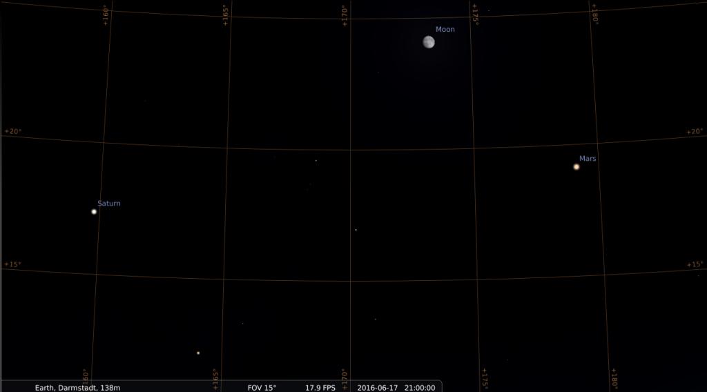 Viereckskonstellation aus Saturn, Antares, Mond und Mars am Abend des 17.6. 2016, hier simuliert für Darmstadt um 21:00 UTC (=23:00 MESZ)