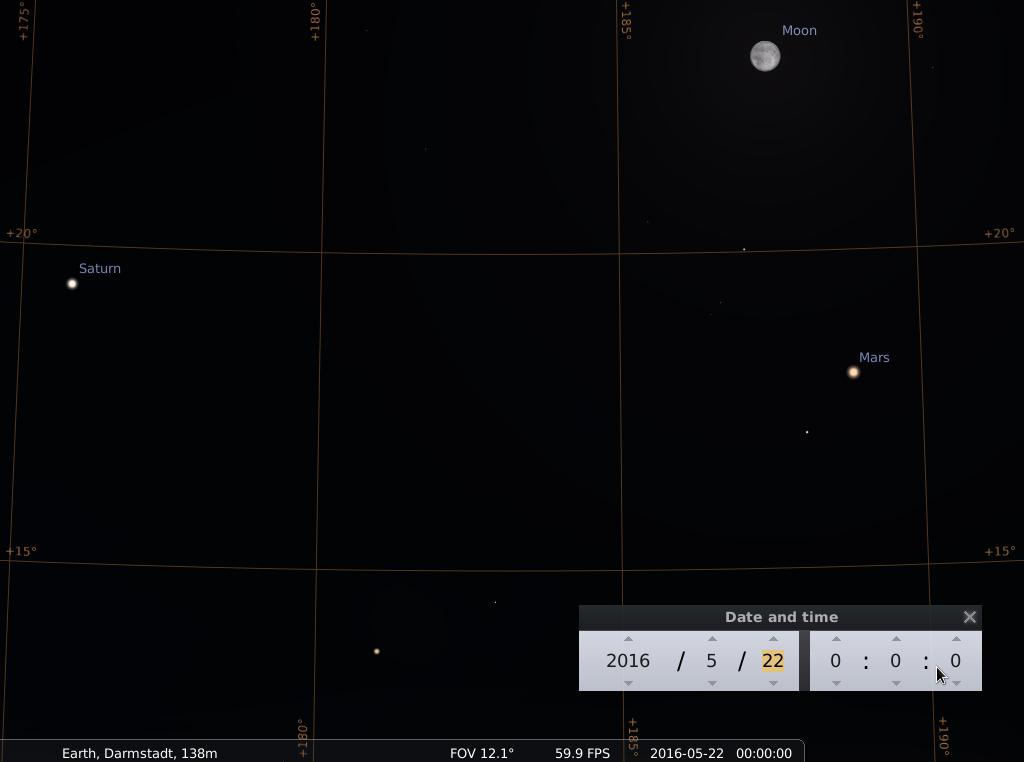 Saturn, Antares im Skorpion, der noch fast volle Mond und Mars am Abend des 22.5.2016, simuliert für Darmstadt um 00:00 UTC (02:00 MESZ)