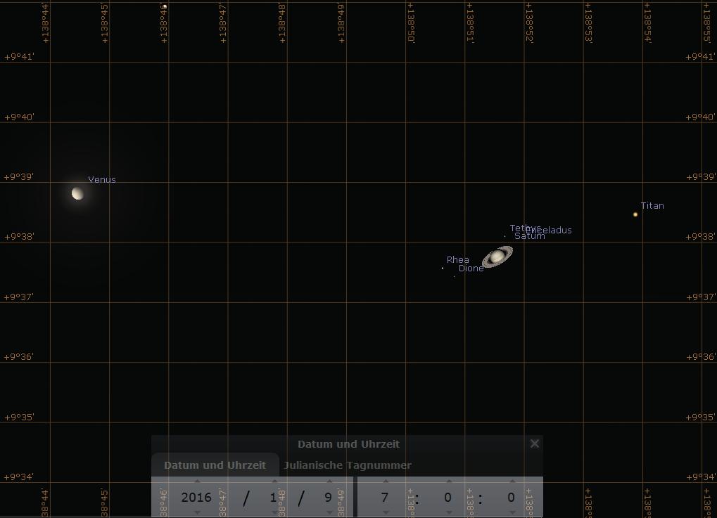 Extrem enge Konjunktion zwischen Venus und Saturn am Morgen des 9.1.2016, hier simuliert für Darmstadt um 7:00 MEZ