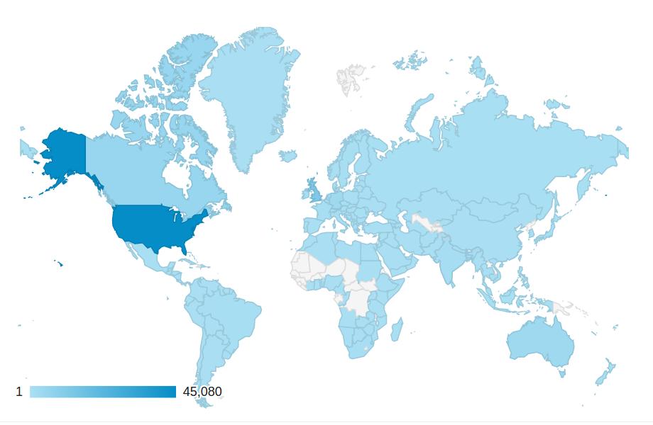Weltkarte mit Besucherstatistik