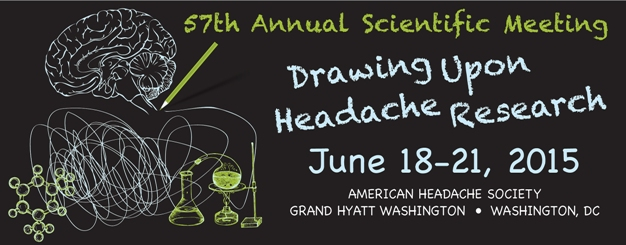 Plaket des 57. Treffen der amerikanischen Headache Society. Motte: Drawing Upon Headache Research – Sich auf Kopfschmerzforschung stützen