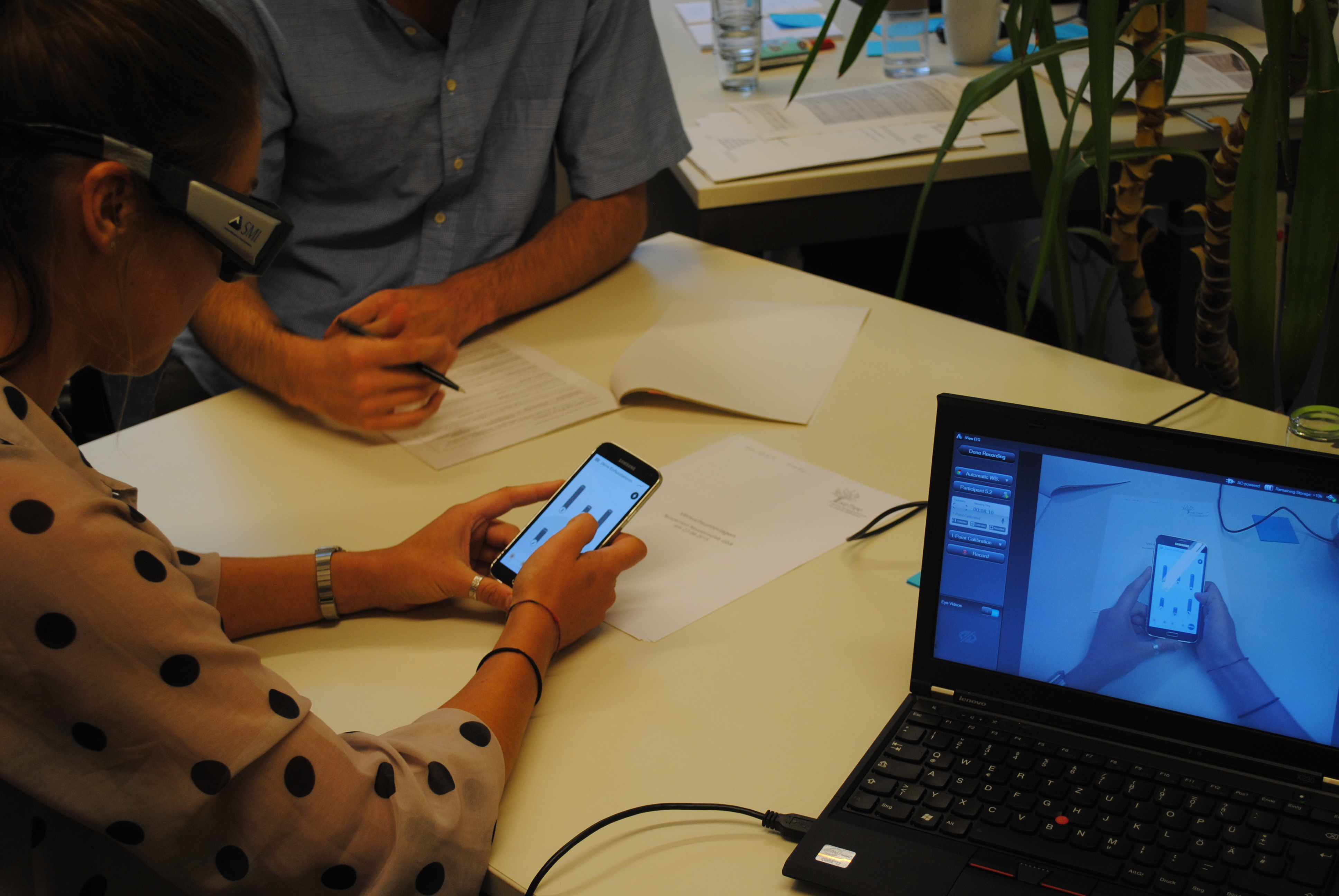 Usability-Test in Verbindung mit Eye Tracking.