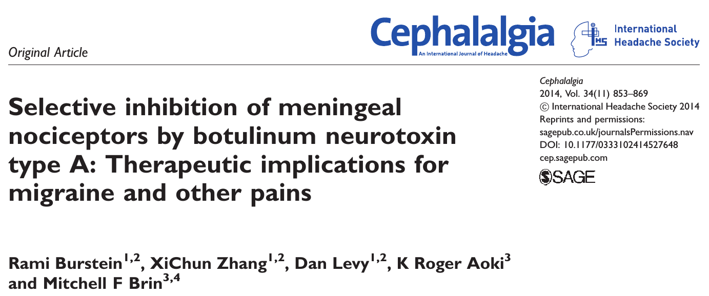 Rami Burstein et al. (2014). Selective inhibition of meningeal nociceptors by botulinum neurotoxin type A: Therapeutic implications for migraine and other pains. Cephalalgia.