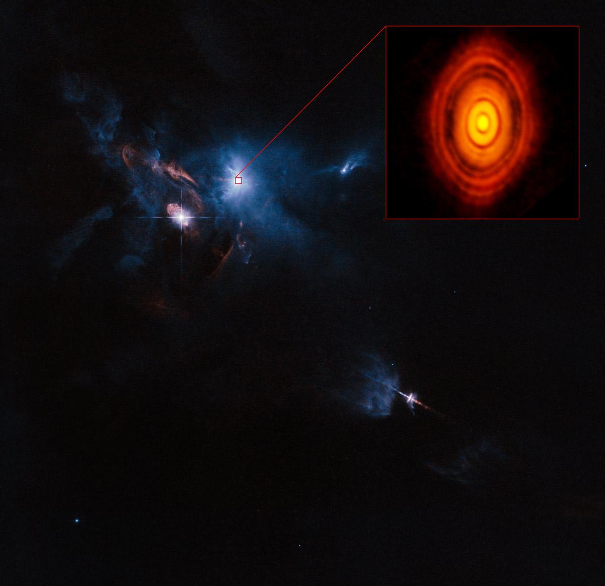 HL Tauri, einmal eingebettet die ihn umgebene Molekülwolke (aufgenommen mit dem Hubbleteleskop) und Deatilaufnahme mit ALMA (Inset) Bild: ALMA (ESO/NAOJ/NRAO)/NASA/ESA