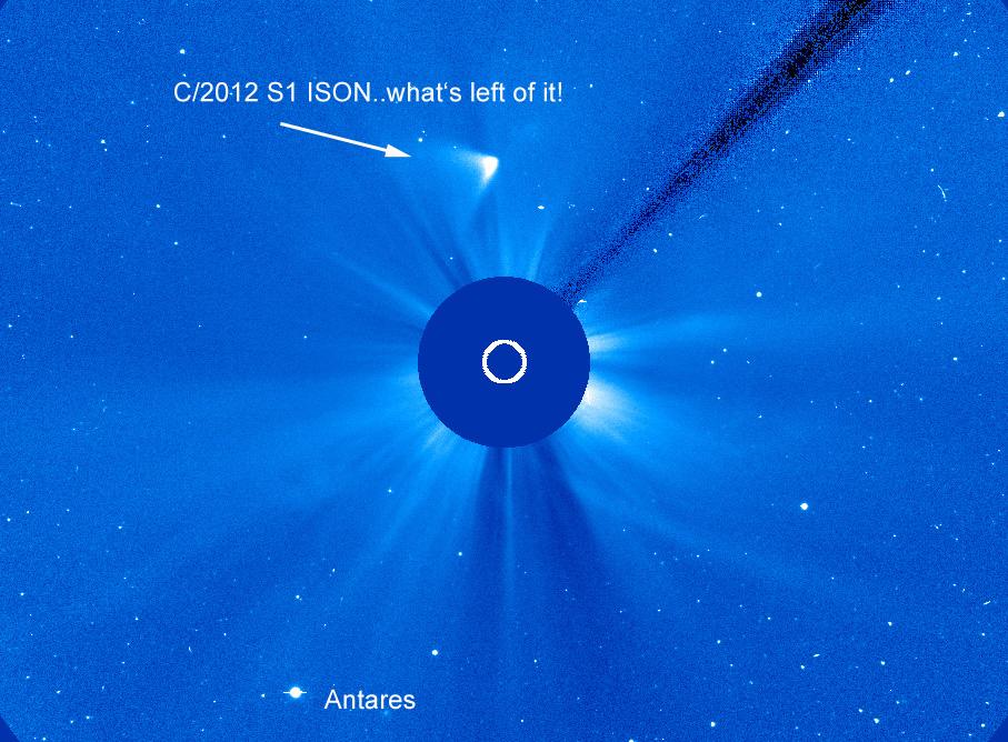 ISONs Überreste auf dem SOHO LASCO C3 am 29.11. um 07:30 MEZ. ESA/NASA