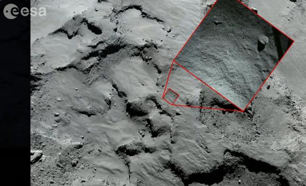 Erste Landestelle (OSIRIS und Rolis)