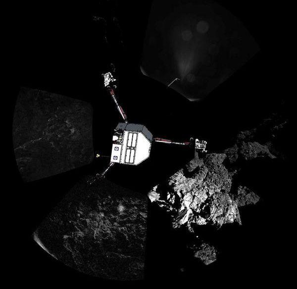 Das Bild des Philae-Landers wurde hier in seiner richtigen Position in die von ihm selbst aufgenommenen Panoramabilder der Landestelle einkopiert (ESA)