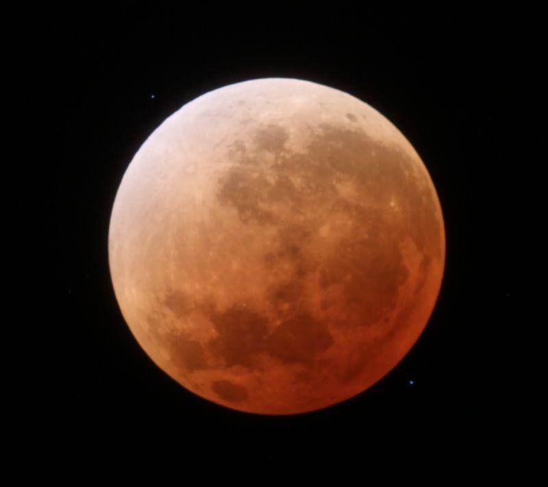 Die totale Mondfinsternis vom 15. April 2014 während der Totalität.