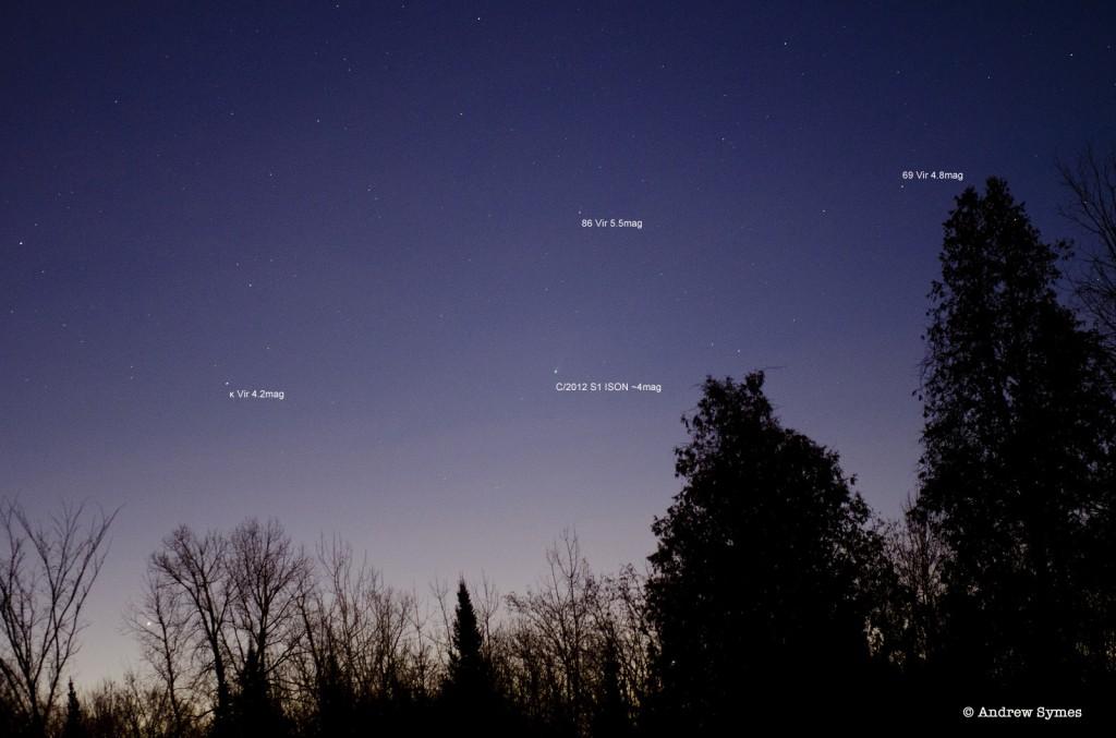 C/2012 S1 am 20.11. 2013 in Ottawa, Kanada. Bildrechte: Andrew Symes, Canadian Astronomy