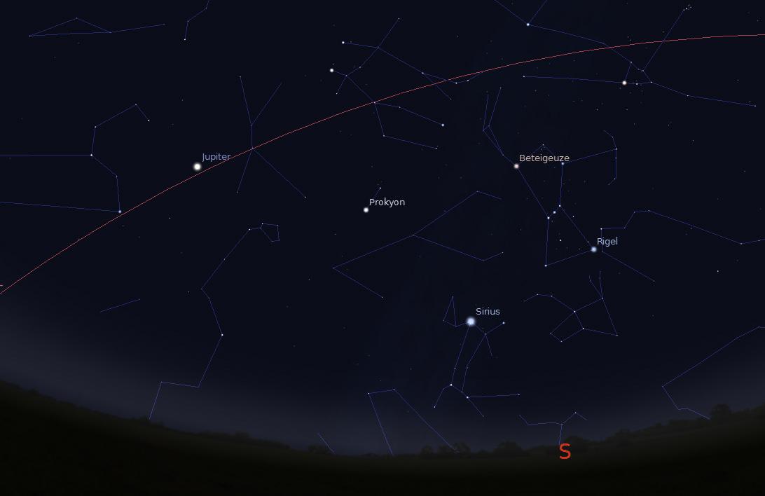 Anblick des Nachthimmels im Februar/März in der ersten Nachhälfte. Sirius (und Rigel) sind ideal zu beobachten. Bild erstellt mit Stellarium